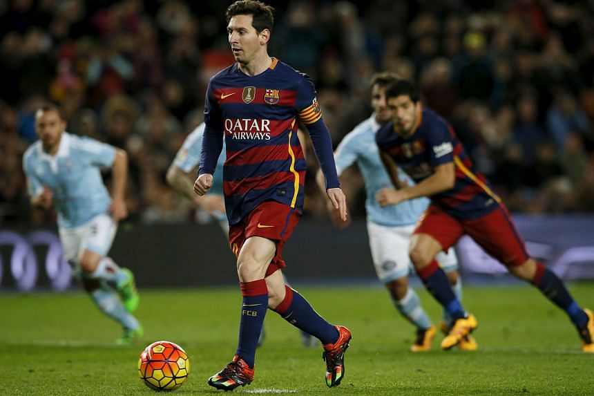 Barcelona's Lionel Messi stunning the crowd when he side-footed his penalty kick to his right, for Luis Suarez (right) to charge into the box and fire past a shocked Celta Vigo goalkeeper Sergio Alvarez. This completed the Uruguayan's hat-trick a