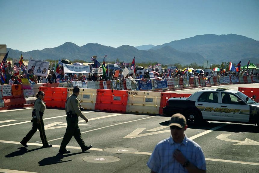 Protesters outside the Sunnylands Estate in California ahead of the US-ASEAN leaders Summit on Feb 15, 2016.