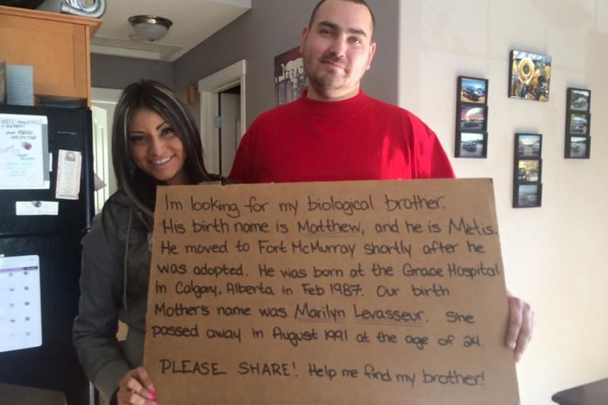 Ms Shylow Wilson and her brother, Mr Matthew Handford, who found each other on Facebook.