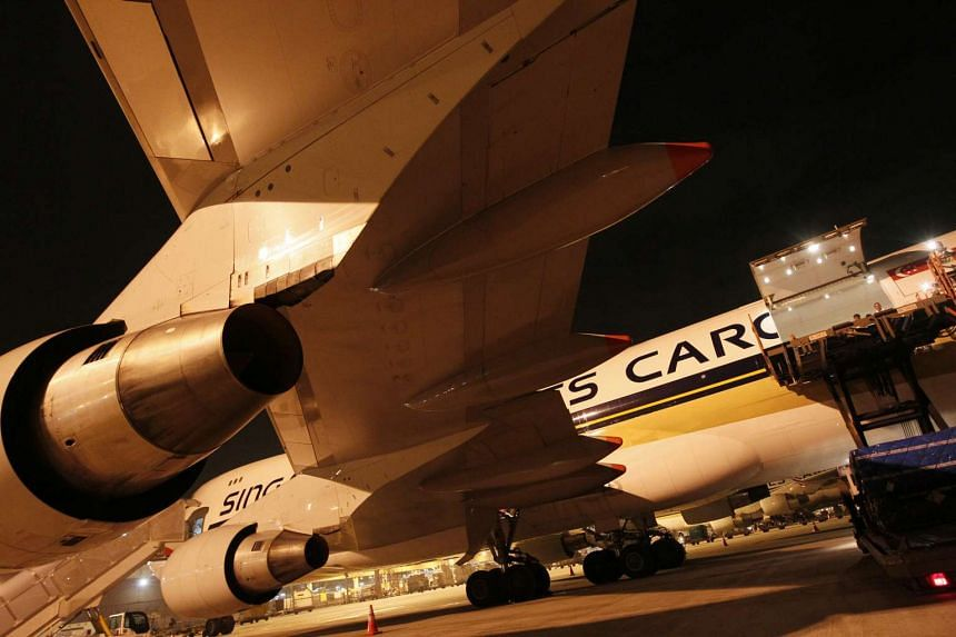 A Singapore Airlines Boeing 747-400F cargo plane at the Changi Aiport Cargo Terminal.