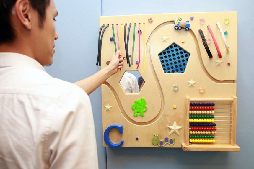 A tactile board used in two of the Institute of Mental Health's sensory rooms for patients with sensory processing difficulties, in particular those with intellectual disabilities or autism spectrum disorder.