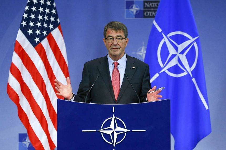 US Secretary of Defence Ash Carter speaks at a news conference during a Nato Defence Ministers meeting in Brussels on Feb 11, 2016.