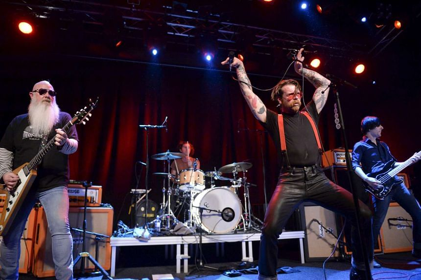 Eagles of Death Metal singer Jesse Hughes is pictured at the concert at Debaser Medis in Stockholm, Sweden, on Feb 13, 2016. The concert in Stockholm is the band's first after the Bataclan terror attack in Paris in November 2015.