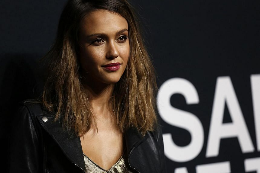 Actress Jessica Alba arriving at the Saint Laurent fall collection fashion show in Los Angeles on Feb 10.