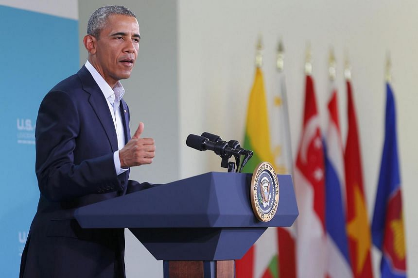 US President Barack Obama speaks during a news conference at the close of the Asean summit at Sunnylands, California.