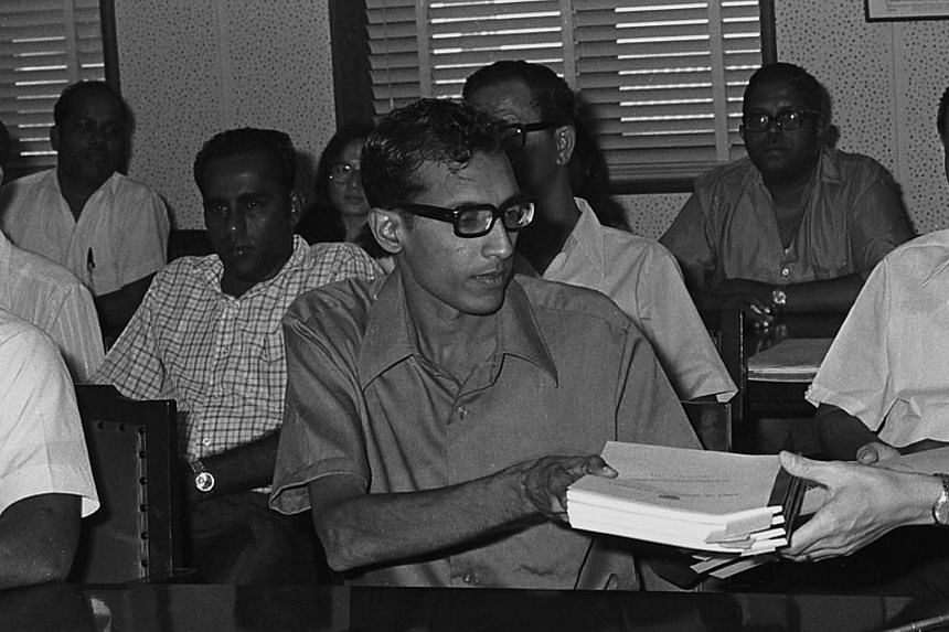Mr V. Jayakody at the signing of an agreement between the PSA and Port Workers Union in June 1973.