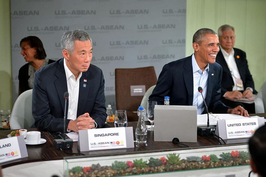 US President Barack Obama and PM Lee Hsien Loong (left) during a meeting at the US-Asean leaders summit.