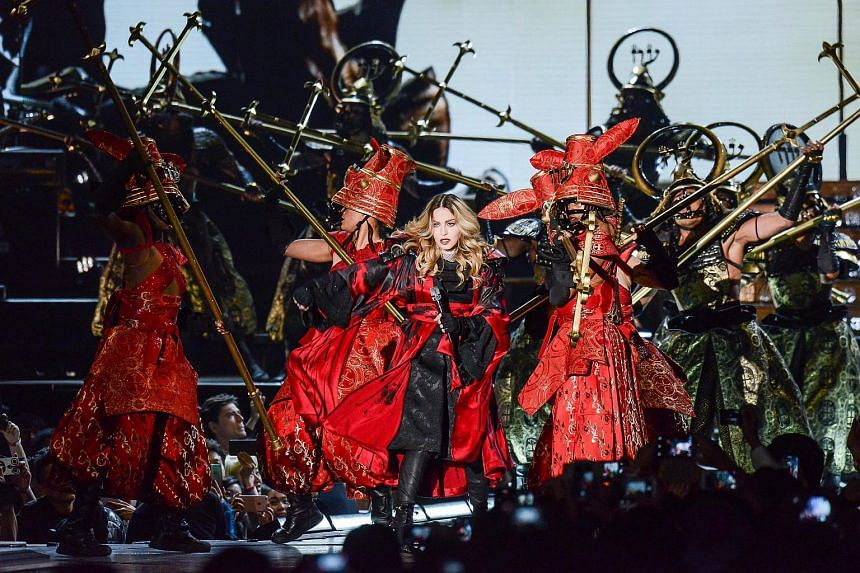 Madonna peforming at a concert in the Taipei Arena in Taipei, Taiwan.