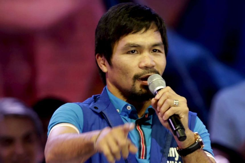 Filipino boxer Manny Pacquiao, who is running for Senator in the May 2016 vice-presidential election, speaking to supporters in Mandaluyong city on Feb 9.