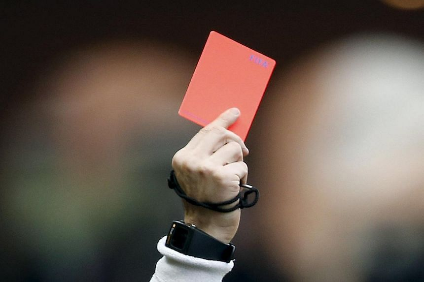 Amateur footballer Cesar Flores was enraged that he was given a red card.