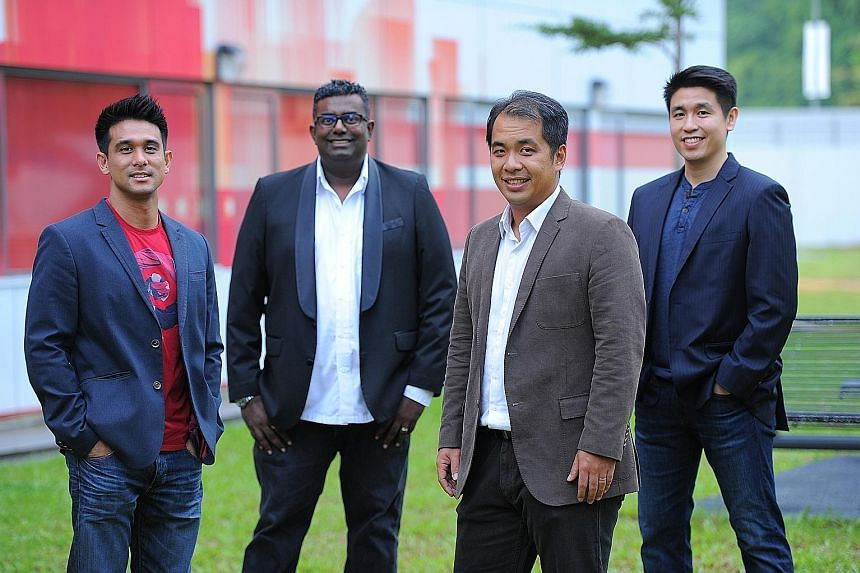 Pealo co-founders (from left): Mr Tan, Mr Somosundram, Mr Ong and Mr Karoonyavanich. The start-up's customers get a dashboard which allows them to feel the pulse of their business, like the number of marketing campaigns and source of capital.