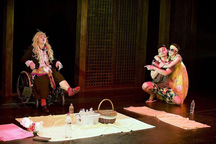 (From left) Feng Yang as Banquo, Tian Chong as Macbeth and Zeng Zi Yao as Lady Macbeth play it for laughs in some scenes.