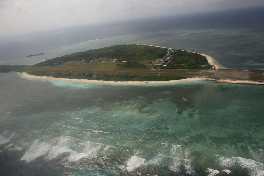 An aerial view of Pagasa Island, part of the disputed Spratly group of islands, in the South China Sea.