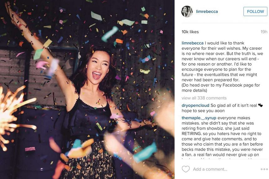 Rebecca Lim's Instagram feed where she revealed that she was not retiring from showbiz after all but that the entire episode was a publicity stunt involving NTUC Income.