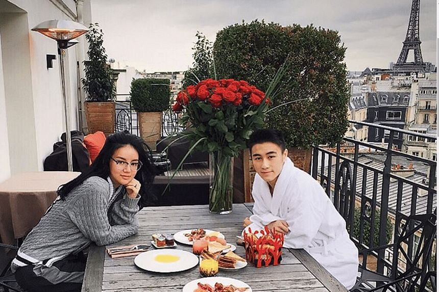 Kim Lim, the daughter of Singapore billionaire Peter Lim and her fiance Mario Ho in Paris on Valentines Day.