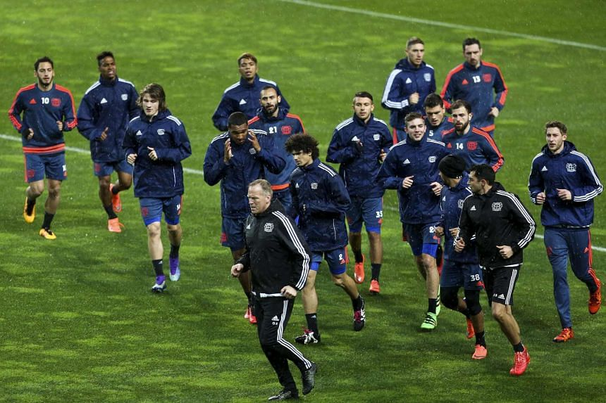 Bayer 04 Leverkusen in action during a training session on the eve of their UEFA Europa League in Portugal, on Feb 17, 2016.