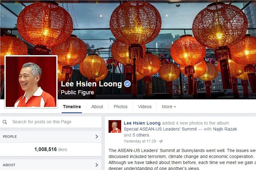 Prime Minister Lee Hsien Loong's Facebook page has reached 1 million likes.