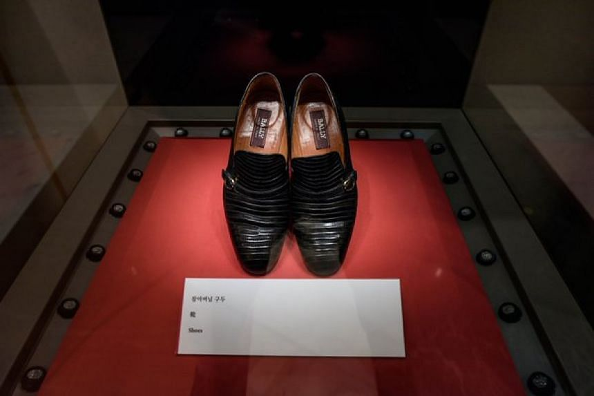A pair of shoes worn by the late reverend Sun Myung Moon exhibited at the Cheon Jung Gung Museum of the Unification Church, Seoul.