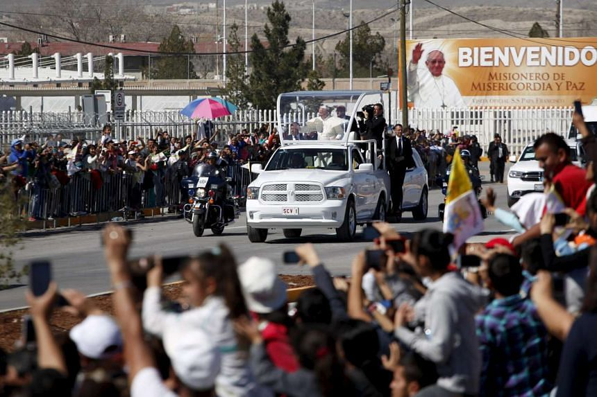 Pope Francis waves to the crowd in Ciudad Juarez, Mexico, on Feb 17, 2016.