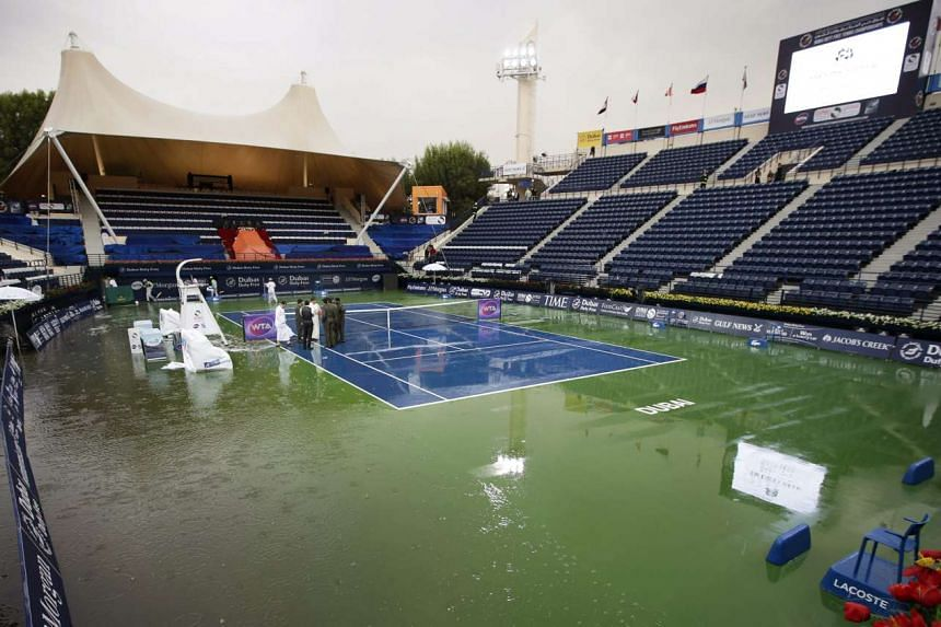 Play was suspended at the Dubai Duty Free Tennis WTA Championships on Wednesday (Feb 17) by a rare rainstorm that flooded the centre court.