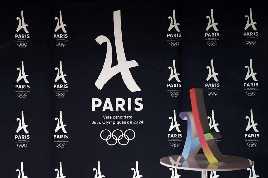 The logo of the Paris candidacy for the 2024 Olympic and Paralympic Games is pictured in Paris on Wednesday (Feb 17).