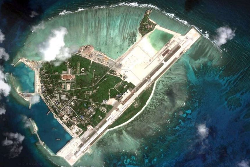 An earlier satellite image of Woody Island showing building work including a runway.