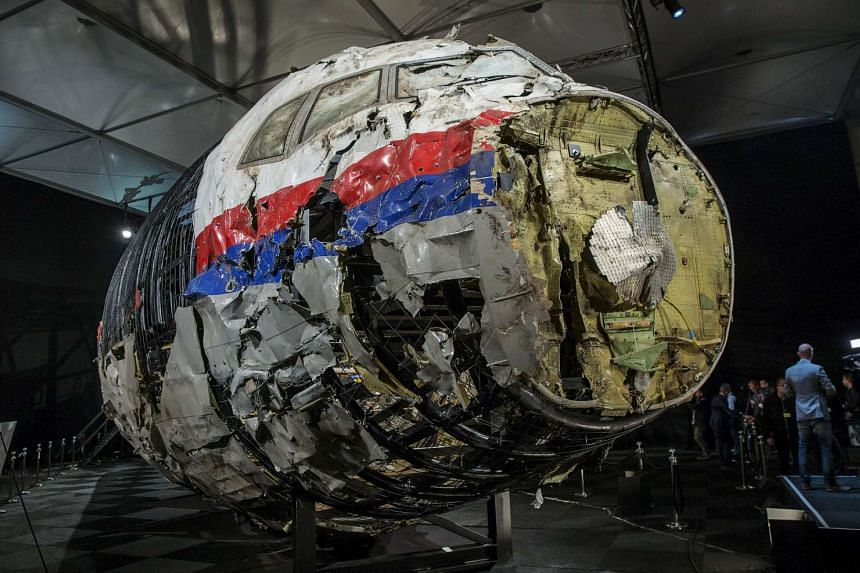 The reconstructed wreckage of the MH17 aeroplane.