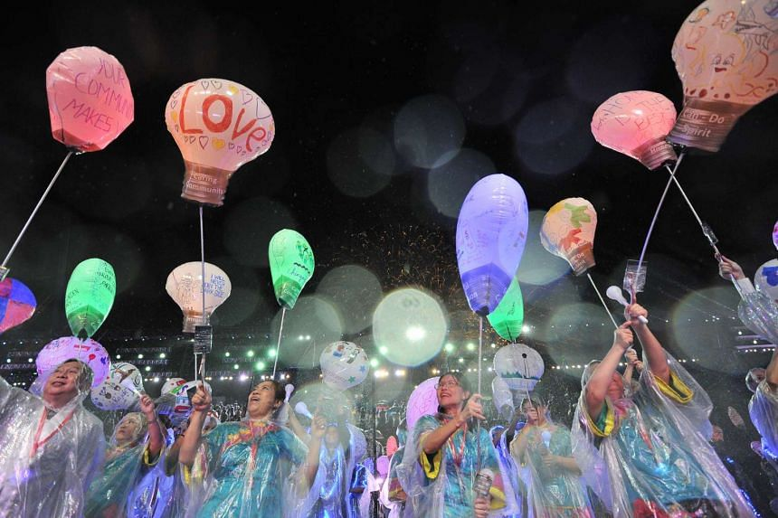 """Chingay Parade Singapore 2016 at F1 Pit Building Area on Feb 19 2016. The theme is """"Lights of Legacy, Brighter Singapore""""."""