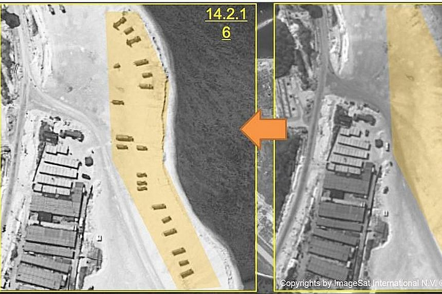 Satellite images from ImageSat International showing Woody Island with what are reportedly two batteries of missile launchers (left), and before the deployment (right). A US official said the missiles, which arrived on the island in the past week, ap