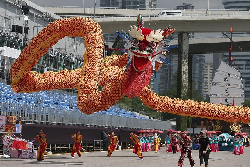 """A 66m-long, helium-filled flying LED dragon will make its world debut at this weekend's Chingay parade. Themed """"Lights of Legacy, Brighter Singapore"""", this year's parade honours core values fostered by Singapore's late founding prime minister, Mr Lee"""
