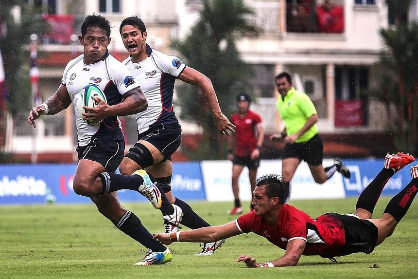 Max Ducourneau (in red) was part of the Singapore rugby sevens team that clinched bronze at last year's SEA Games. The team will be hoping to improve on that showing at the inaugural Southeast Asia 7s tournament in April.