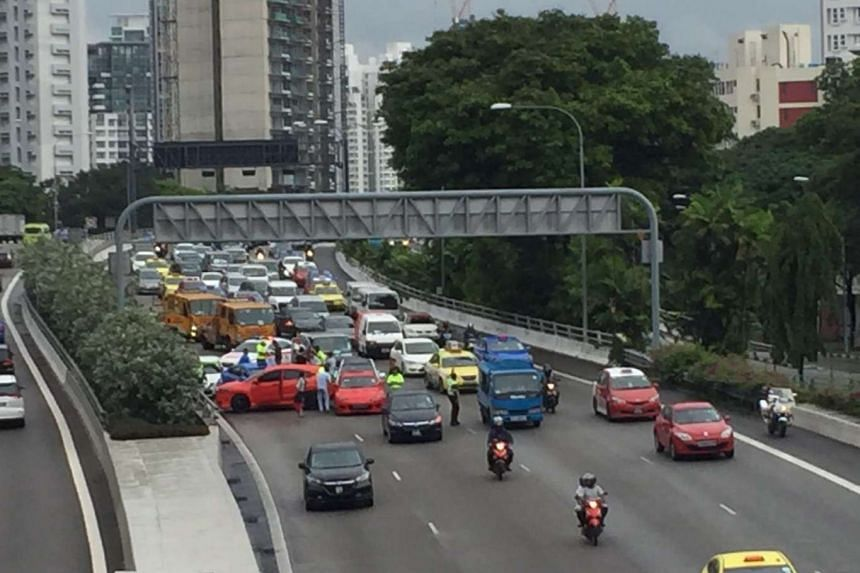 The multi-car pile up on CTE in the direction of the city just before the entrance to Cairnhill Tunnel.
