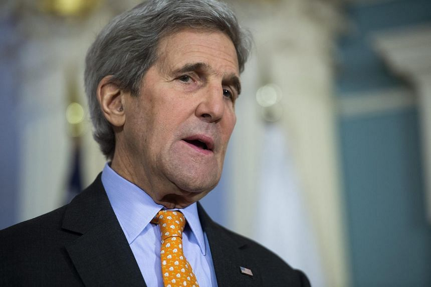 US Secretary of State John Kerry responds to a question on China deploying missiles in the South China Sea, on Feb 17, 2016.