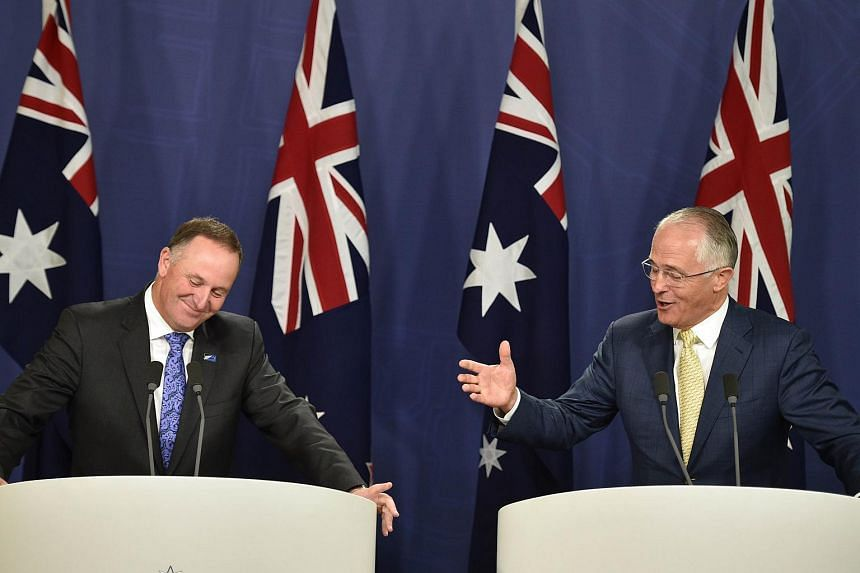 Australia's Prime Minister Malcolm Turnbull (right) and his New Zealand counterpart John Key hold a joint press conference in Sydney on Feb 19, 2016.
