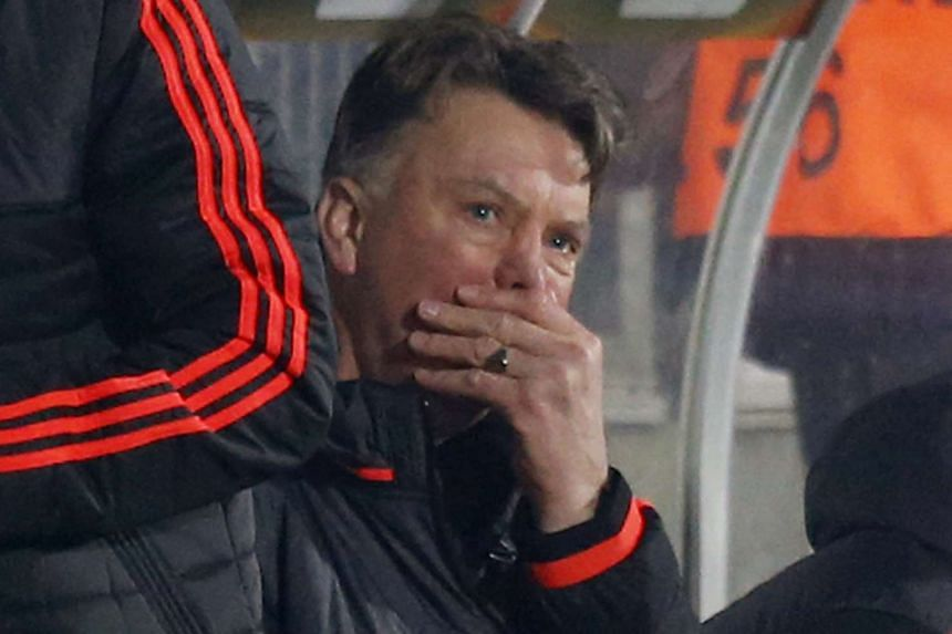 Manchester United manager Louis van Gaal reacts during the match.