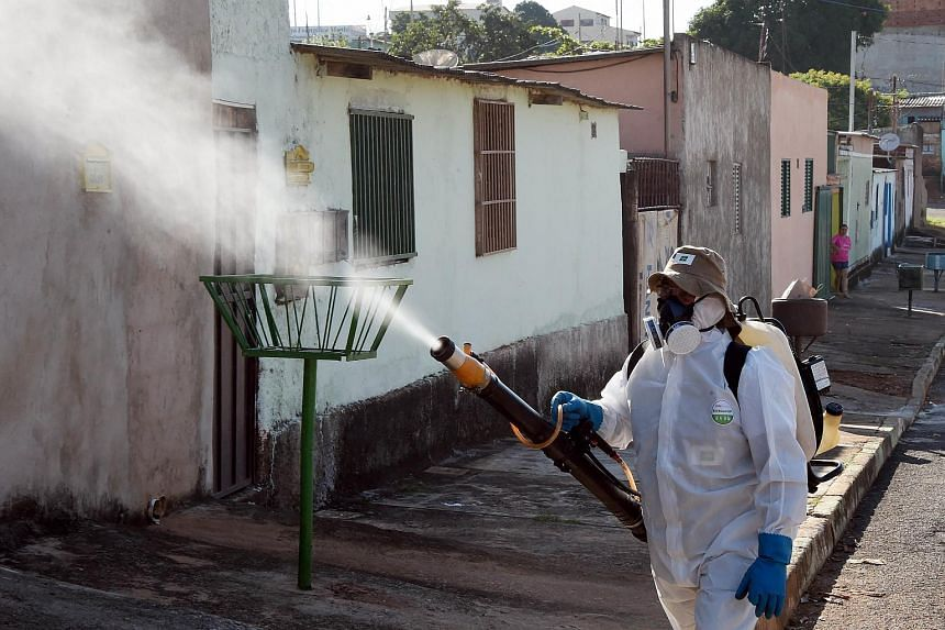 A member of the National Health Foundation fumigates against the Aedes aegypti mosquito, in Gama, on Feb 17, 2016.