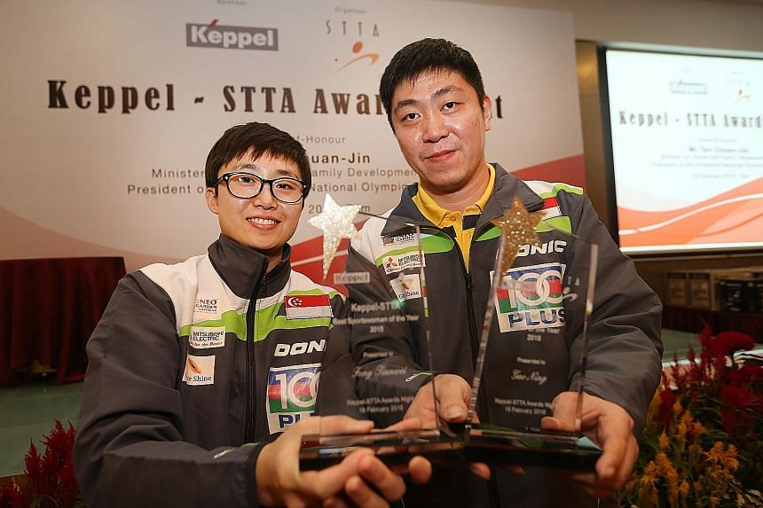 Feng Tianwei and Gao Ning at the Singapore Table Tennis Association's annual awards night held at the Civil Service Club.