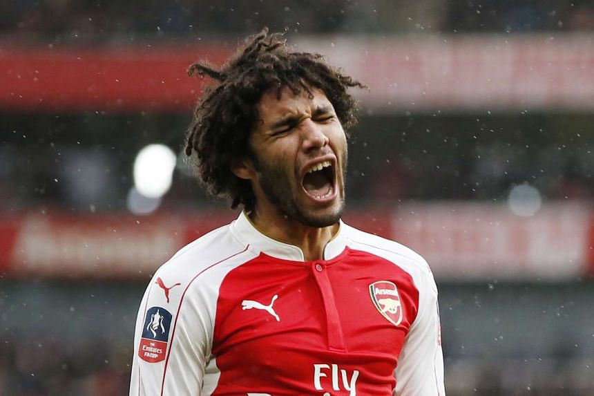 Arsenal's Mohamed Elneny reacts during the match.