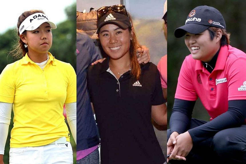 (From left) Jenny Shin, Danielle Kang and Haru Nomura are on nine-under 207 after 54 holes.