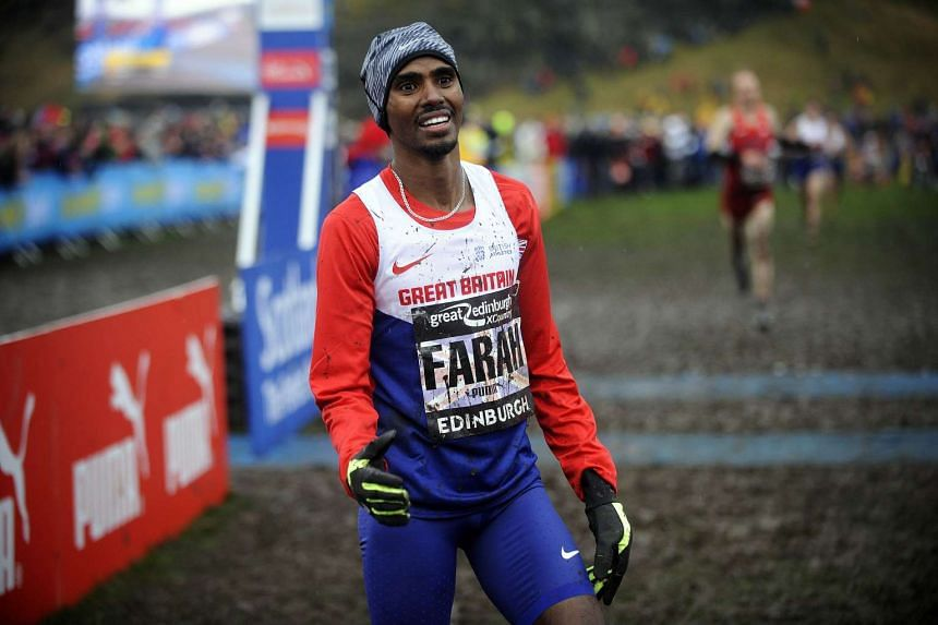Mo Farah is seen after crossing the finish line in the men's race in the Great Edinburgh Cross Country run on Jan 9, 2016.