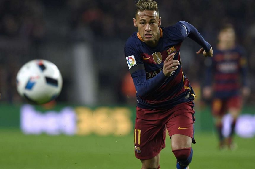 Neymar chasing a ball during the Spanish Copa del Rey (King's Cup) quarter-finals second leg football match FC Barcelona vs Athletic Club de Bilbao on Jan 27, 2016.