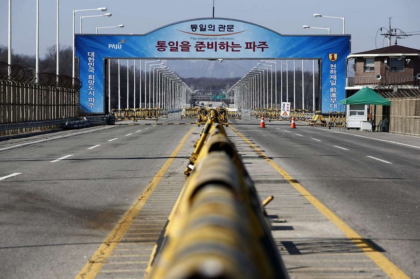 A general view of the Unification bridge near the border checkpoints at the Military Demarcation Line near the demilitarized zone (DMZ) on Paju in Gyeonggi-do Province, South Korea on Feb 15, 2016.
