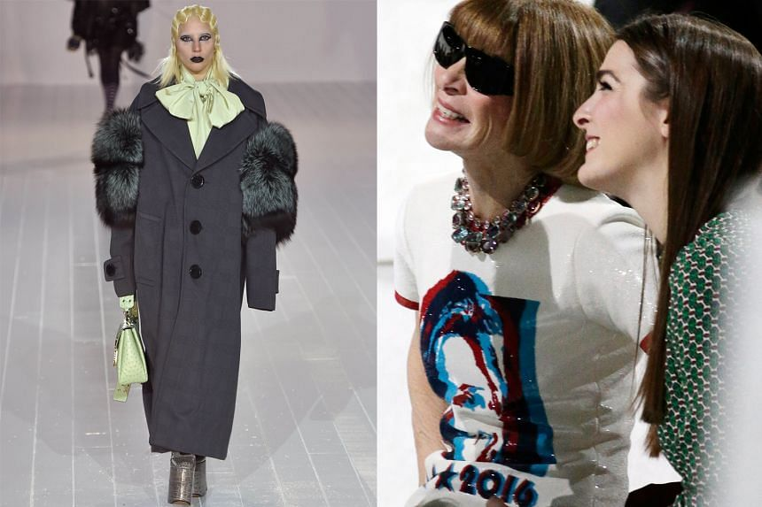 Lady Gaga stunned on Thursday as she powered down the runway (above left) for designer Marc Jacobs in a triumphant finale to New York Fashion Week. Only on Monday, the singer had donned a Jacobs costume in her tribute performance to the late David Bo