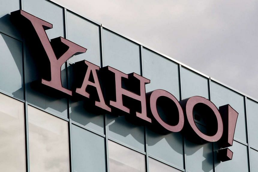 A Yahoo logo is pictured at a building in Burbank, California.