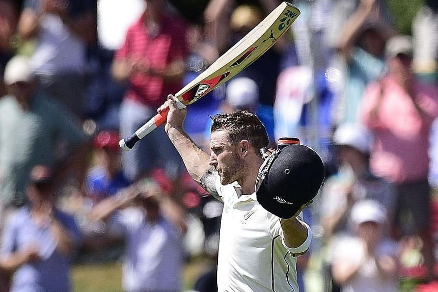 New Zealand captain Brendon McCullum saluting fans after being dismissed for 145 in the second Test against Australia in Christchurch yesterday.
