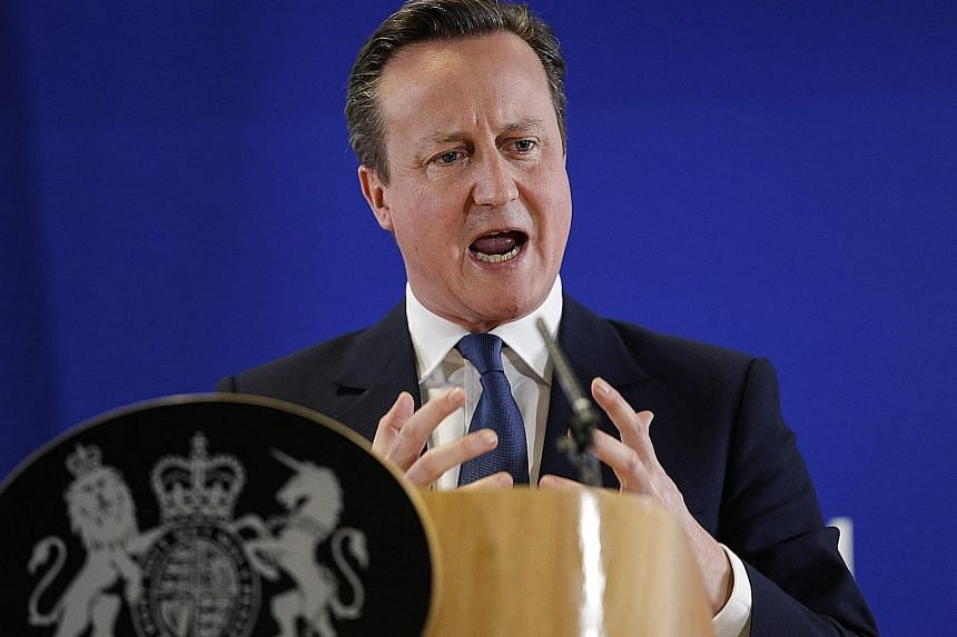 British Prime Minister David Cameron addressing the press after the second day of an extraordinary two-day summit at the EU headquarters in Brussels, Belgium, last Friday.