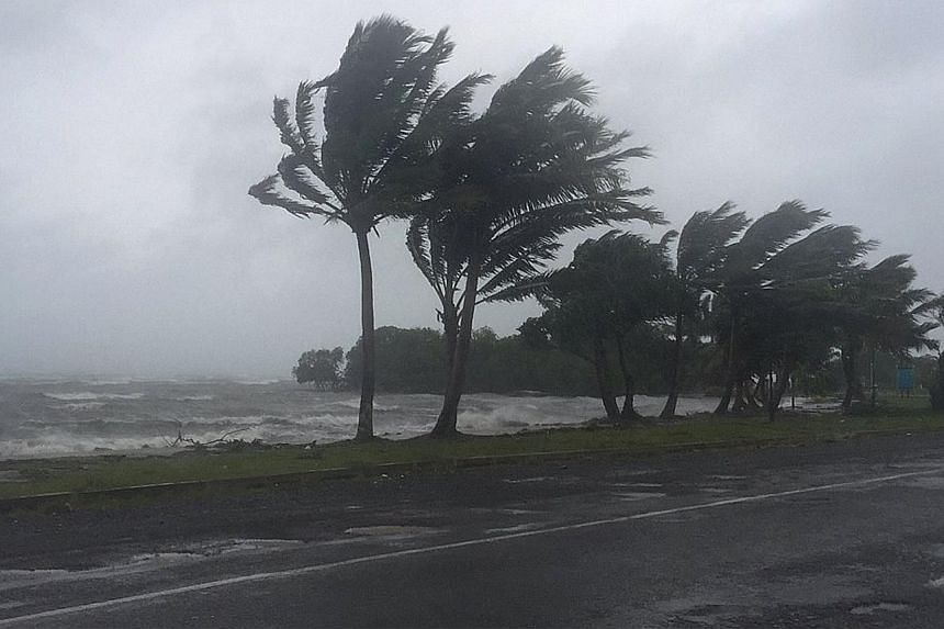 Tropical cyclone Winston bearing down on Fiji yesterday. The storm hit the nation's main island of Viti Levu overnight, with flights cancelled and evacuation centres activated earlier in the day.