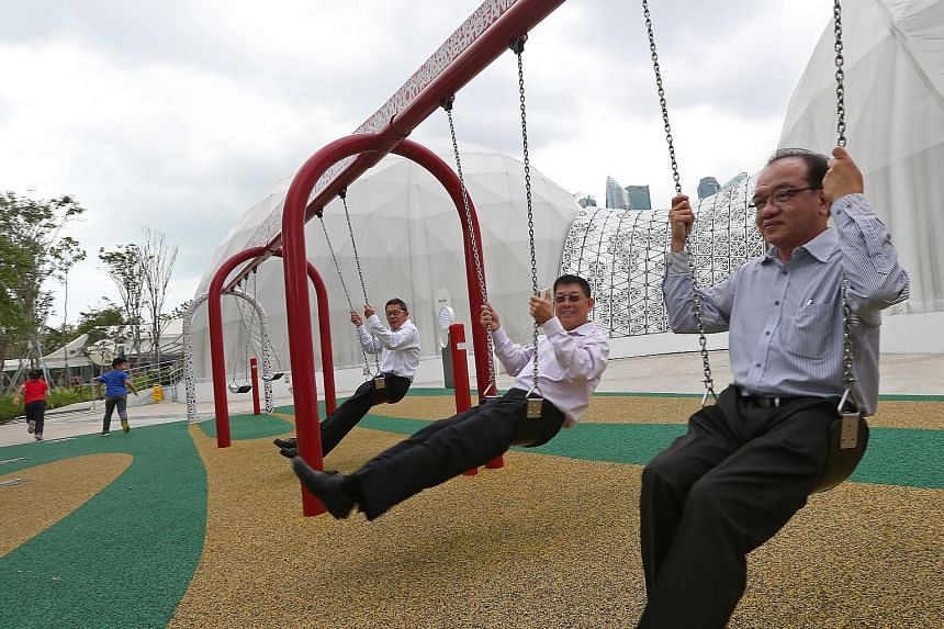 (From right) Prof Lim, Prof Lee and Mr Chia helped organise the National Exhibition in 1984, which commemorated 25 years of nation-building.