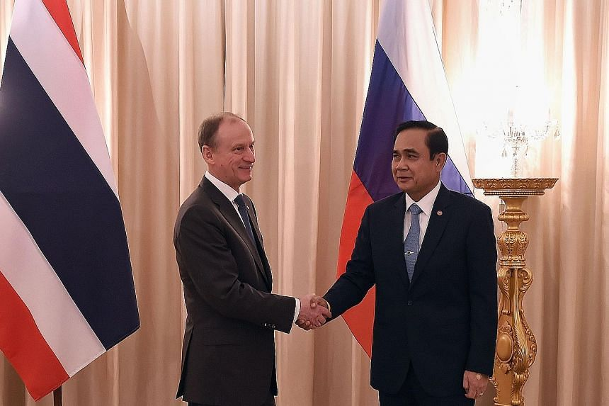 Russian National Security Council secretary Nikolai Patrushev (left) calling on Thai Prime Minister Prayut Chan-o-cha this month. Russian Prime Minister Dimitry Medvedev visited Thailand last April.
