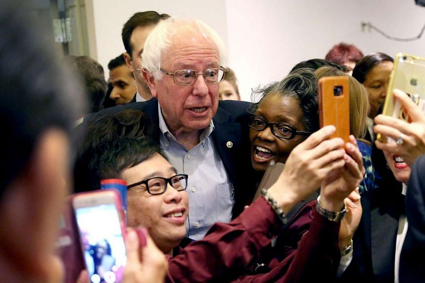 Bernie Sanders greets workers in the cafeteria of the MGM Grand Casino on Feb 20, 2016 in Las Vegas, Nevada.